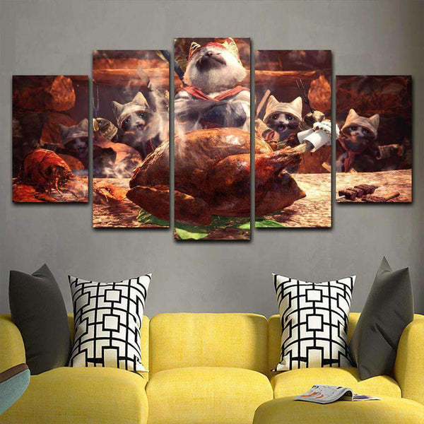Monster Hunter World Cat 5 Piece Canvas