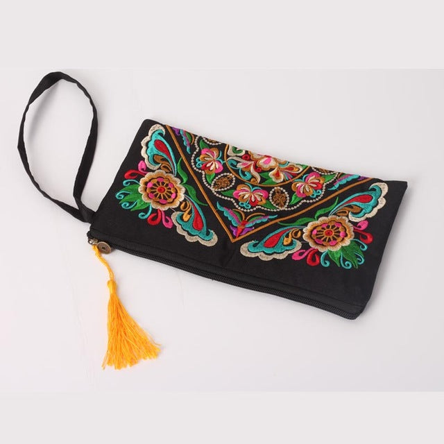 Women Embroidered Flower Handbag