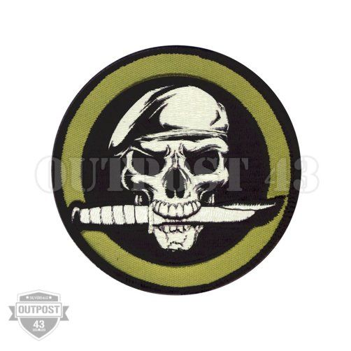 Patch Embroidered - Skull Knife Beret