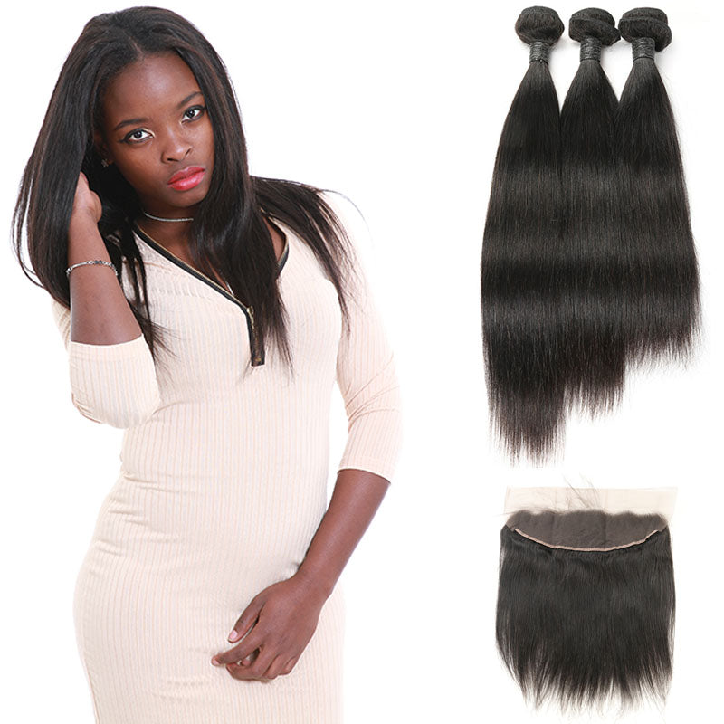 9A Virgin Weave Straight Hair 3 Bundles with Frontal Sell For Women ... 5e8b50ac3e