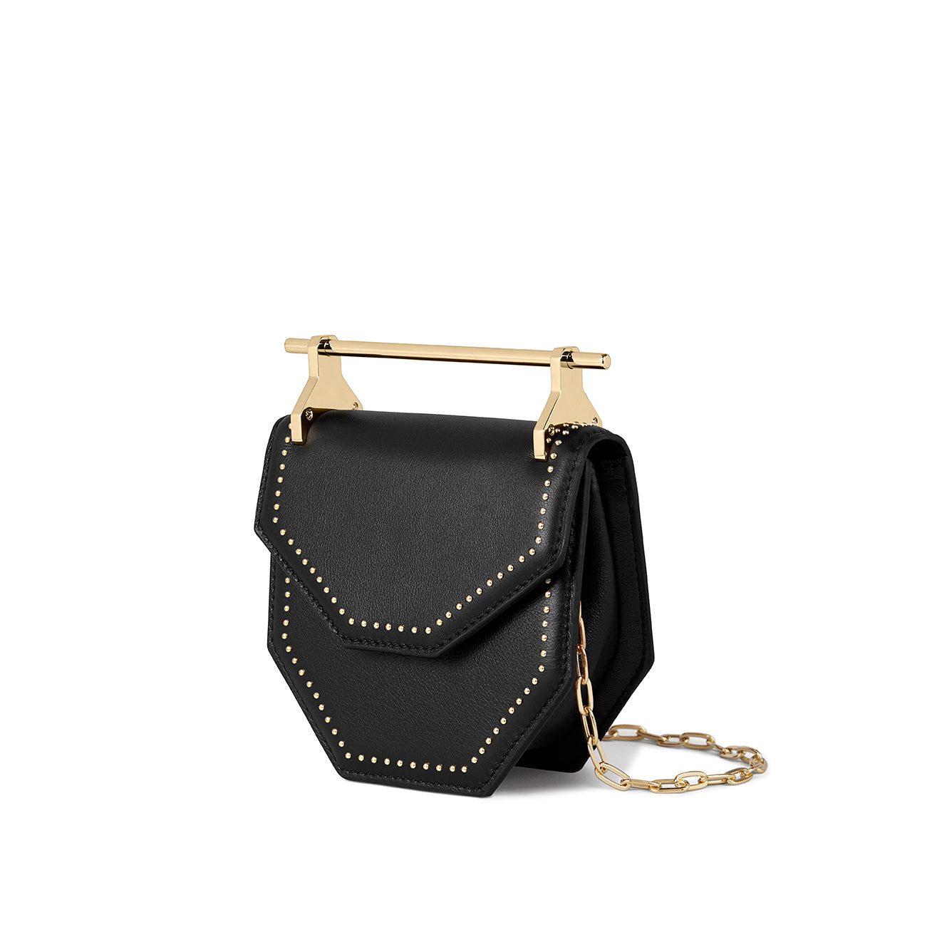 Mini Amor/Fati Black With Gold Studs
