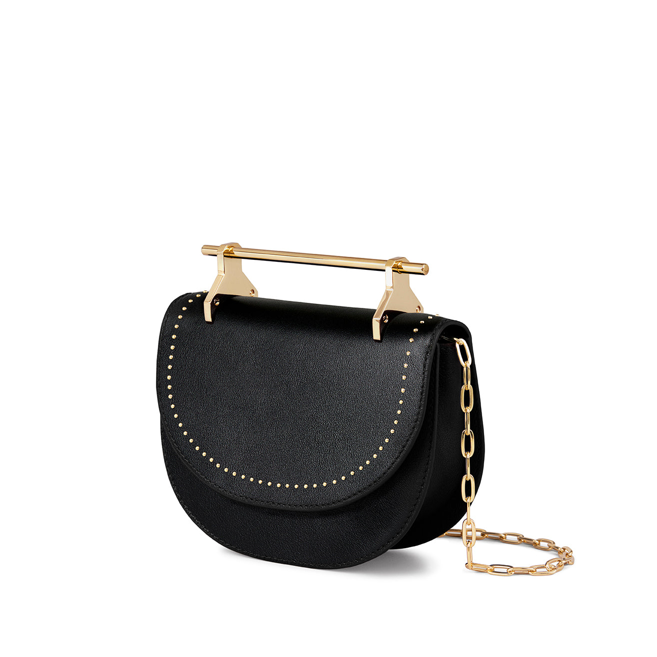 Mini Halfmoon Black With Gold Studs