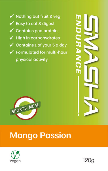 SMASHA Endurance Mango Passion, natural sports nutrition. 120 g pouch