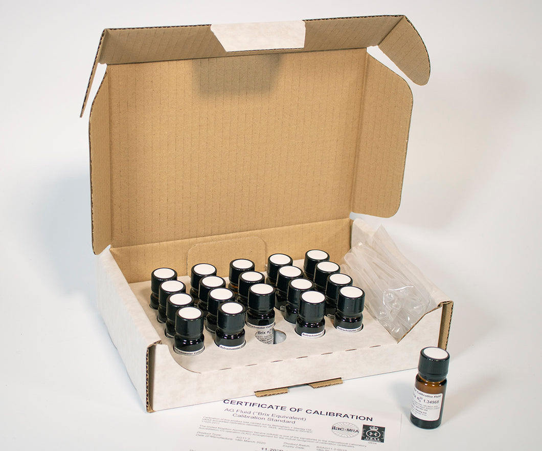 AG Fluids for Refractometer Calibration (pack of 20 x 5ml) (UKAS/NIST)