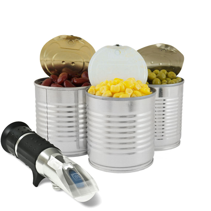 Refractometer for testing salinity / brine in cans