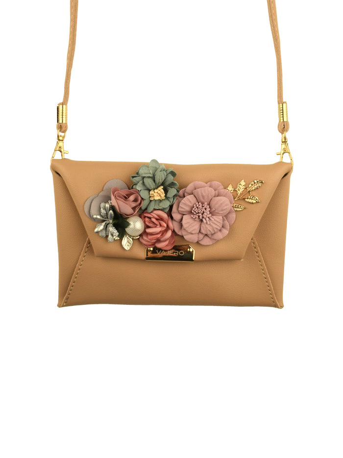 Rosette Envelope clutch with Detachable Sling in Latte