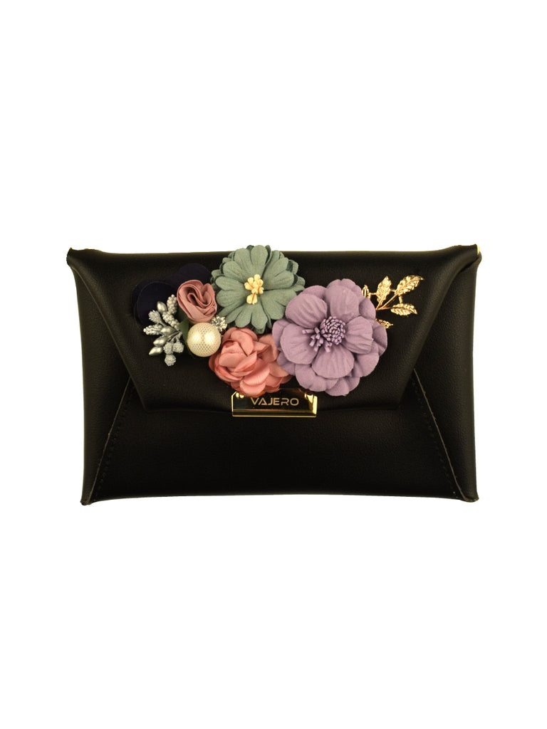 Rosette Envelope clutch with Detachable Sling in Black