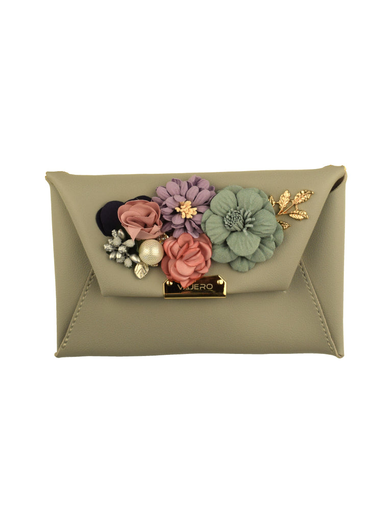 Rosette Envelope Clutch with Detachable Sling in Grey