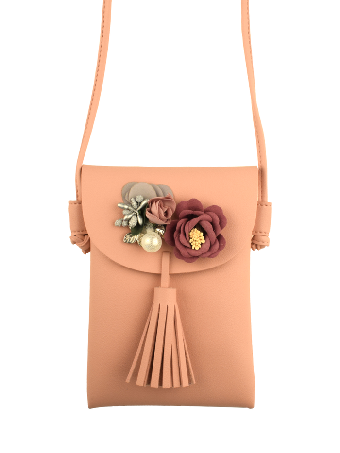 Floral Pochette with detachable sling in Blush Pink