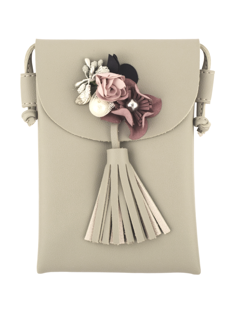Floral Pochette with detachable sling in Grey