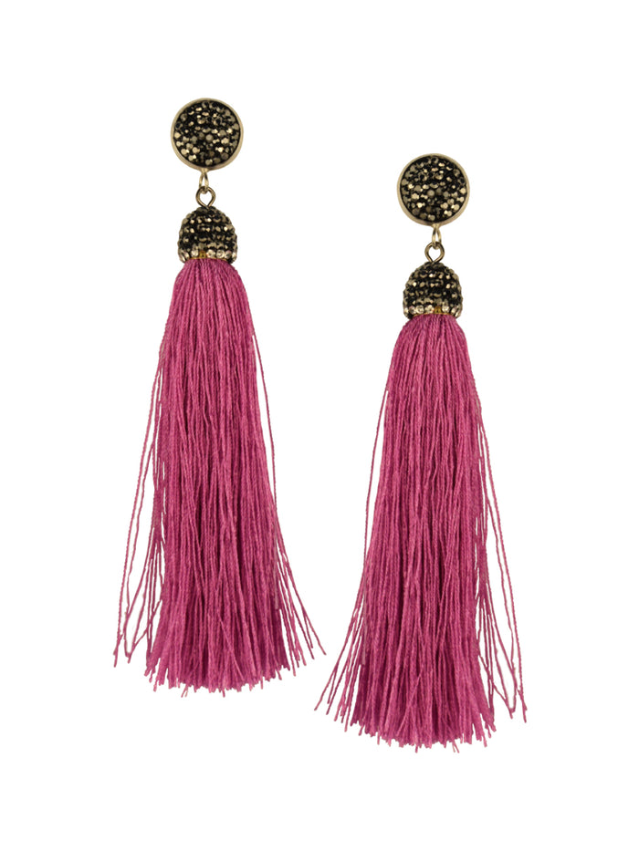 Orchid Pink Tassel Earrings