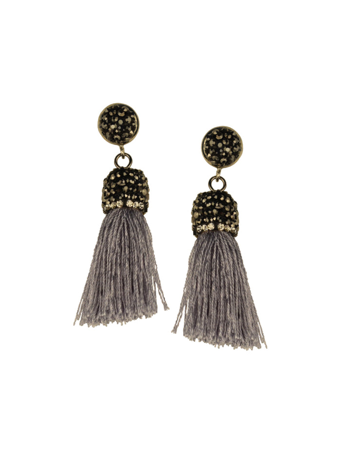 Taupe Micro Tassel Earrings