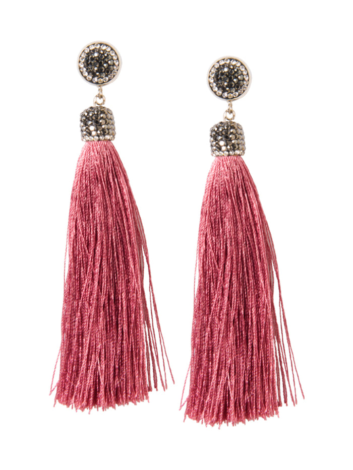 ROSE WOOD TASSEL EARRINGS