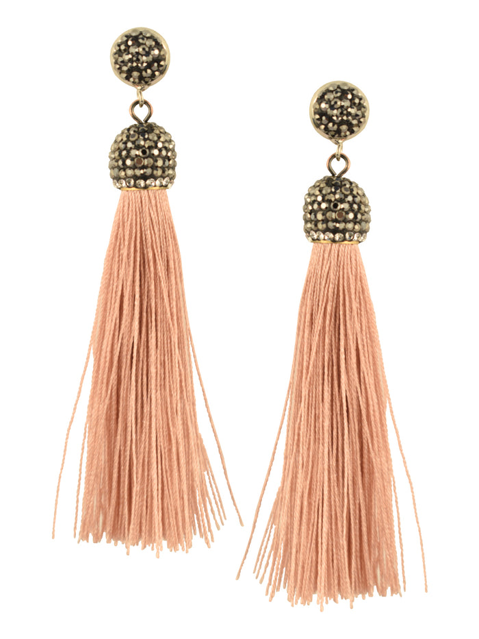 Rose Quartz Tassel Earrings