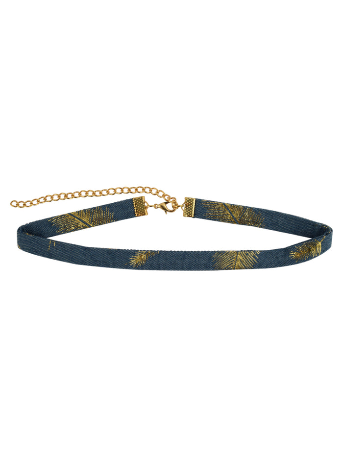 Denim Choker with Gold palms