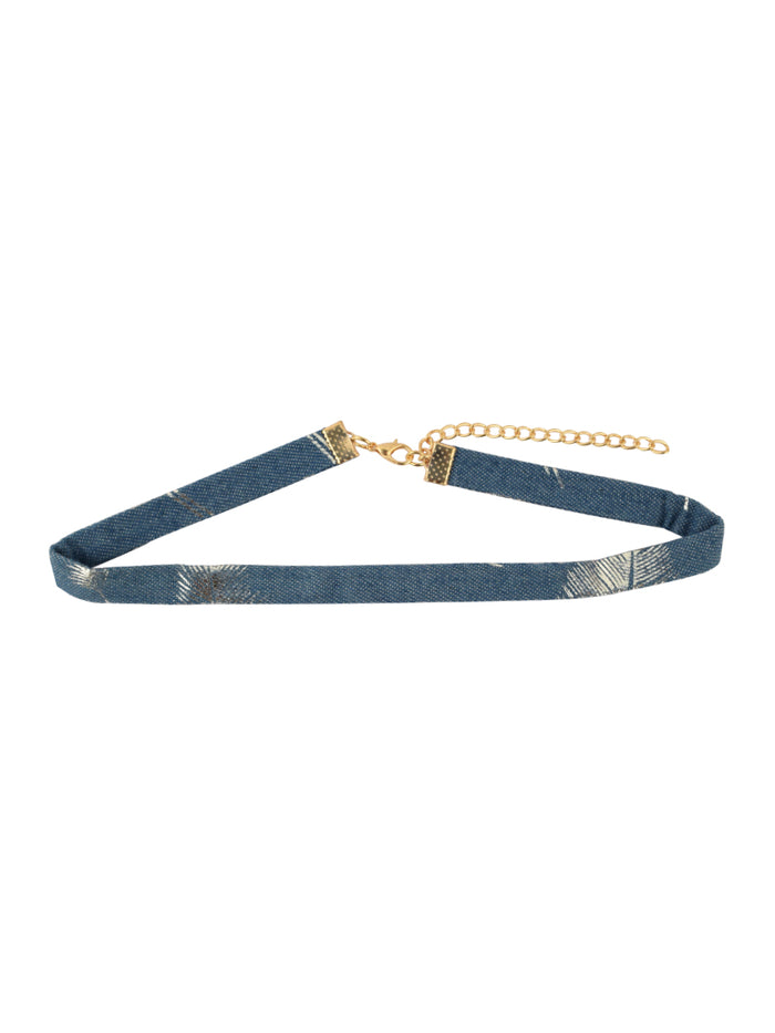 Denim Choker with Silver palms