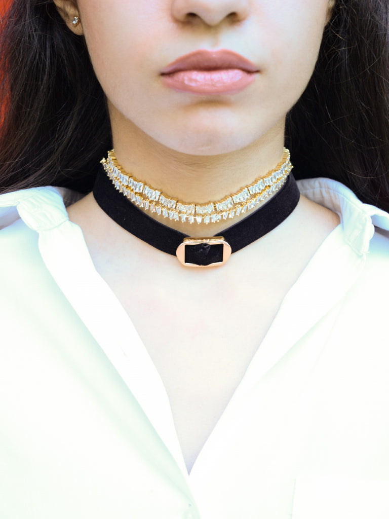 Crystal Shard adjustable choker in Gold