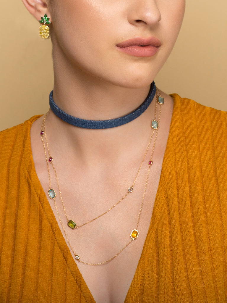 Confetti Crystals necklace in rose gold