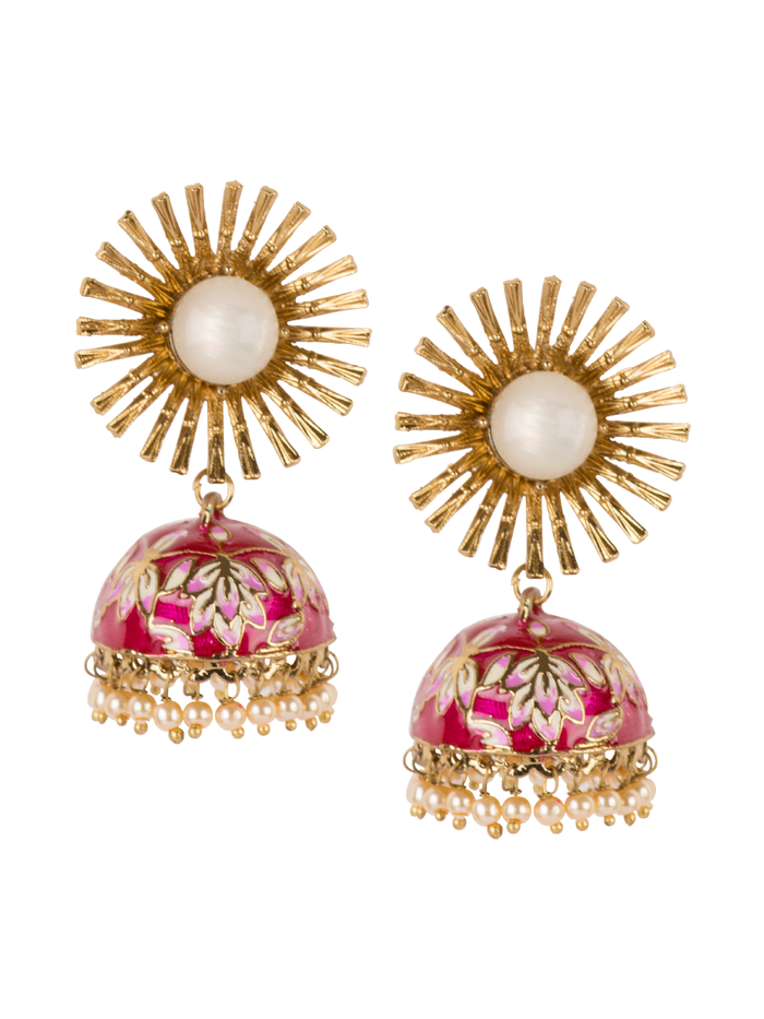 Adal Jhumkas in Ruby Red