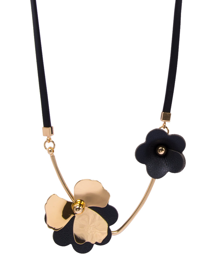 Wild Flower statement necklace in Black
