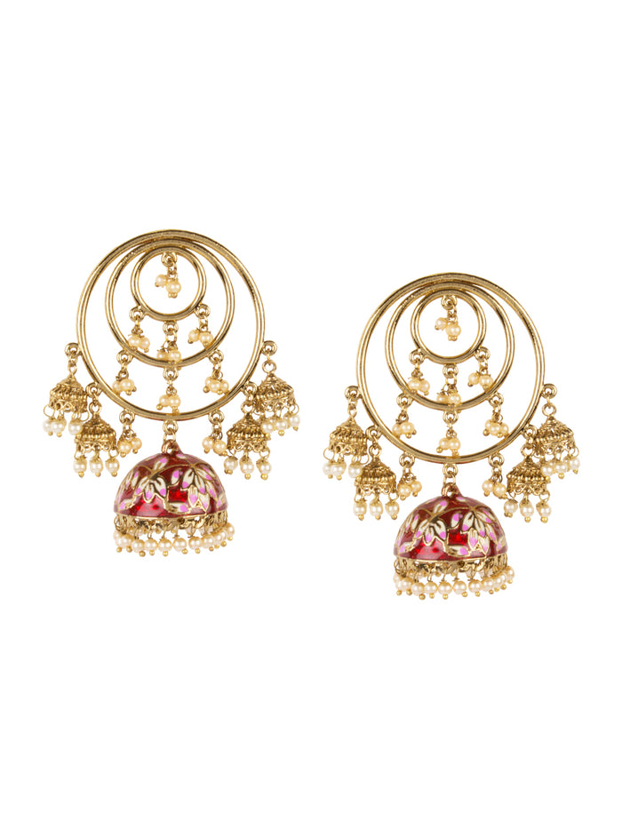 Vida jhumka in ruby red