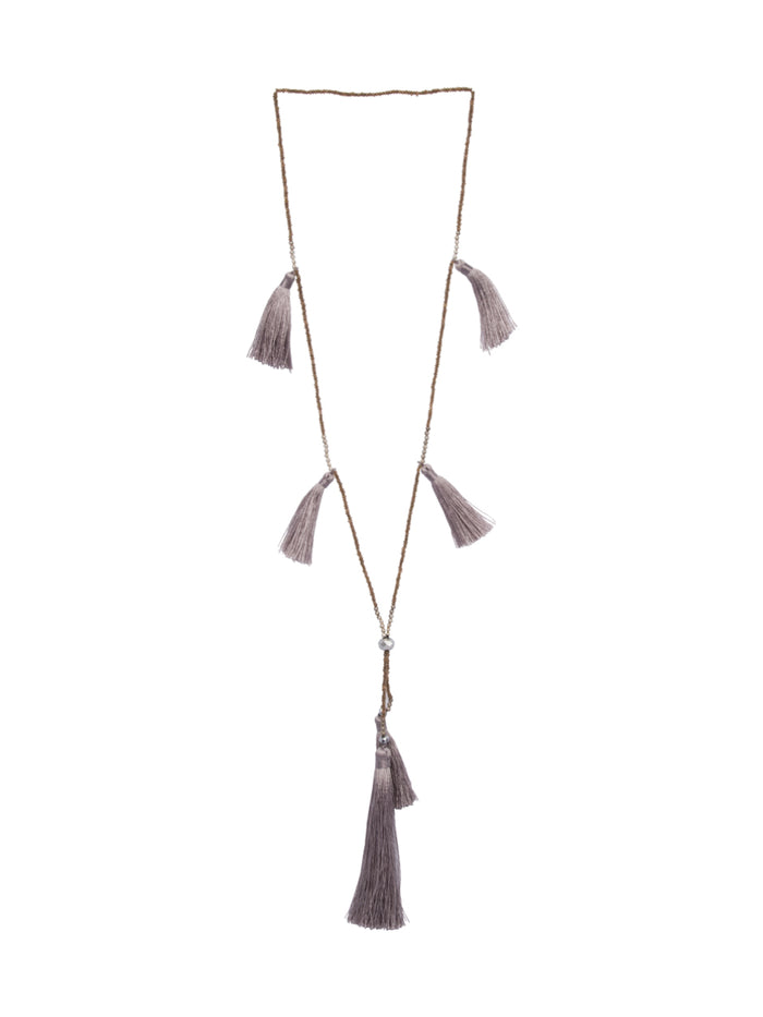 Kira tassel Necklace in Taupe