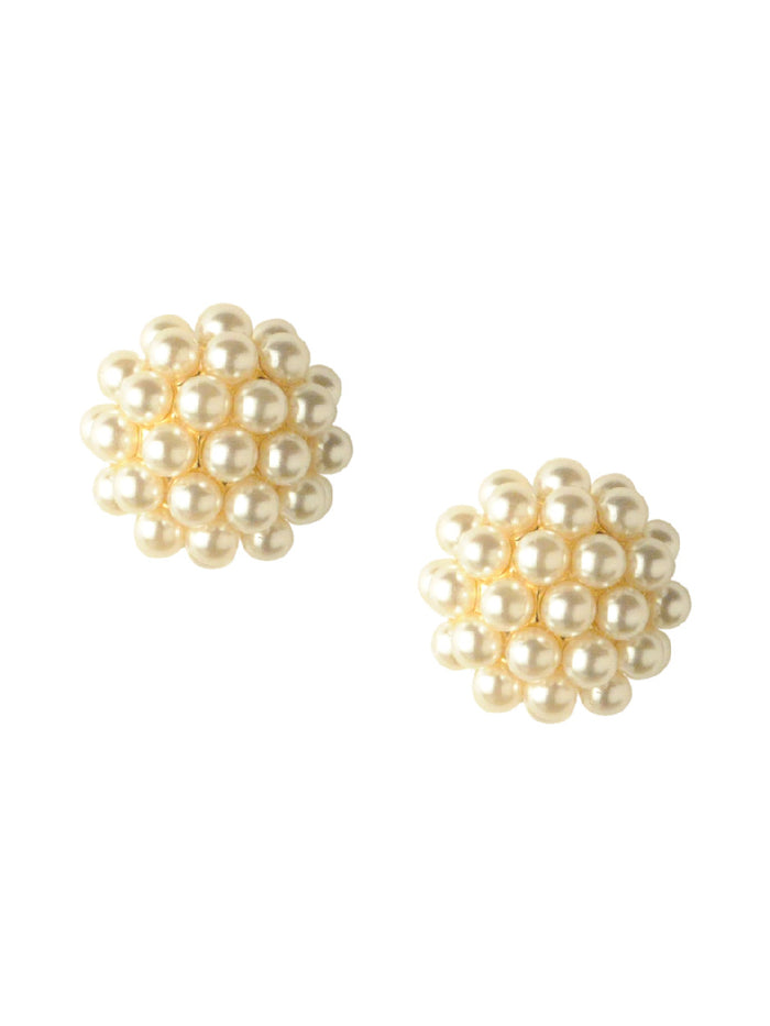 Nougat Pearl cluster studs