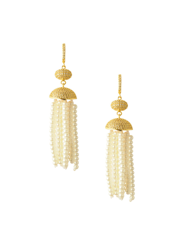 Attina Pearl Tassel Earrings