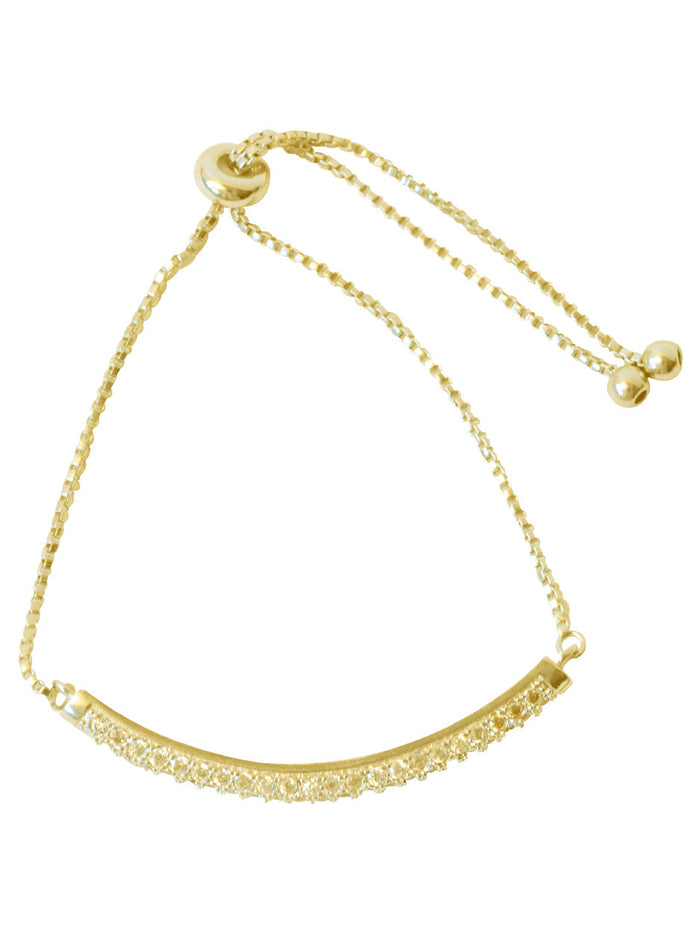 Pave Arc Drawstring in Gold