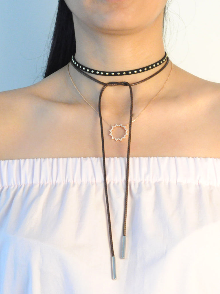 BROWN SHOE CORD CHOKER