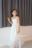 Lace maxi girl dress, Ivory lace flower girl dress
