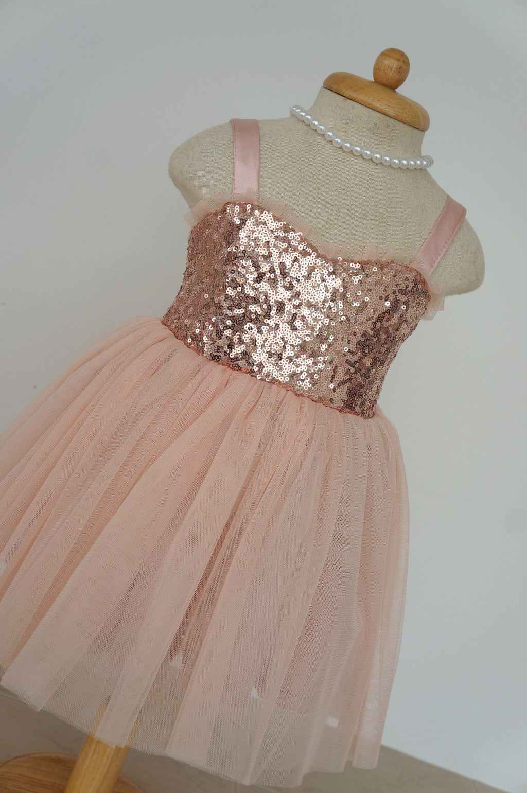 b833335a3 ... Flower girl dress rose gold and blush tulle dress Junior bridesmaid  dress Blush flower girl dress ...