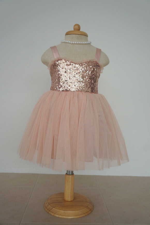 Flower girl dress rose gold and blush tulle dress Junior bridesmaid dress Blush flower girl dress