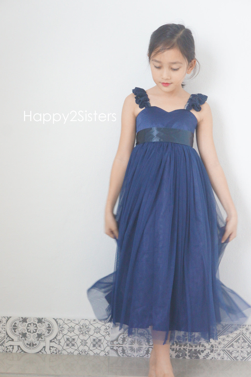 Navy Blue Flower Girl Dress Country Flower Girl Dress Rustic Flower