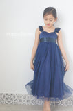 Navy blue flower girl dress Country flower girl dress Rustic flower girl dress Tea Length flower girl dress Flower girl dress wedding