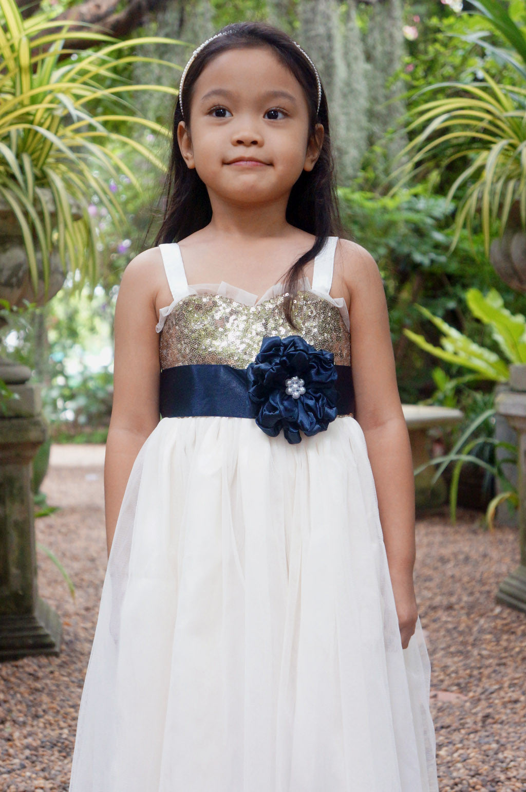 a93c97ecdd0 ... Champagne gold and ivory dress with navyblue sash  Sequin girl dress   Sparkle girl dress ...