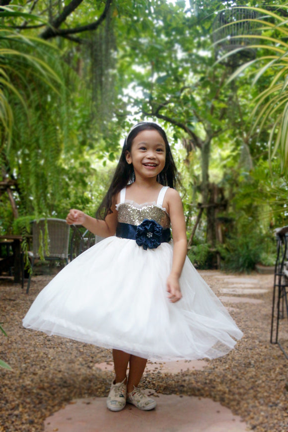 Champagne gold and ivory dress with navyblue sash/ Sequin girl dress/ Sparkle girl dress/ Tulle flower girl dress.