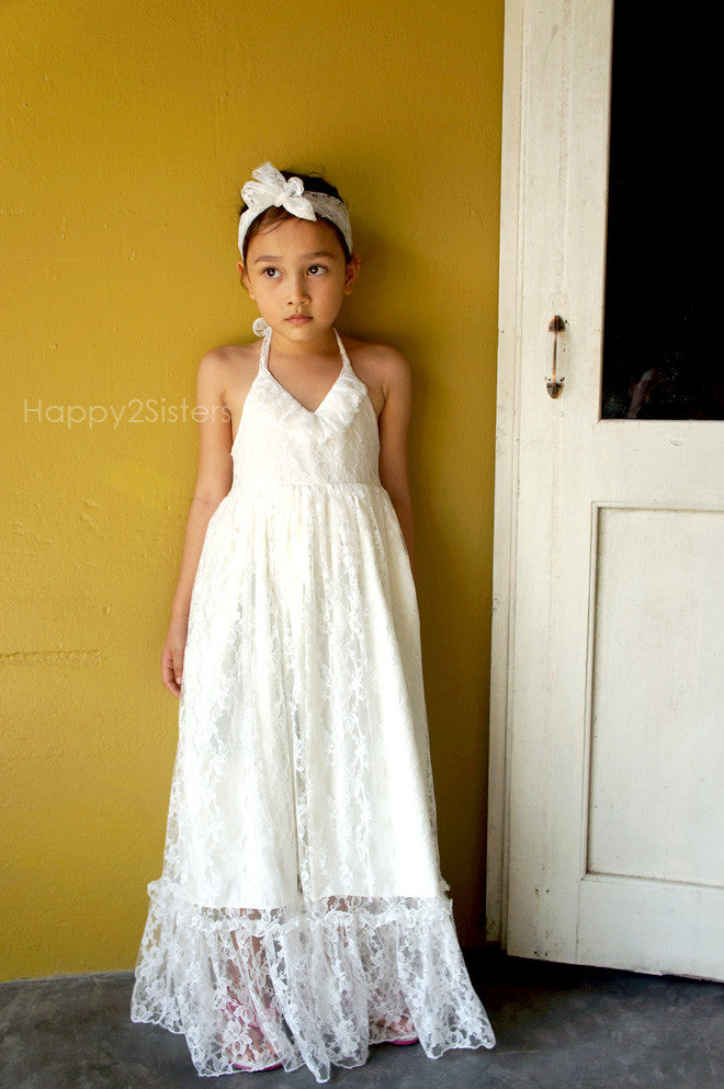 7dfdbc7336b6 Girl lace maxi flower girl dress Lace flower girl dress Girl maxi dress  Beach wedding Boho ...