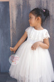 Ivory flower girl dress Vintage flower girl dress Girl gown Tea length flower girl dress Lace flower girl dress