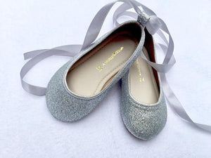 Sliver glitter shoes for girls Flat shoe Flower girl shoe