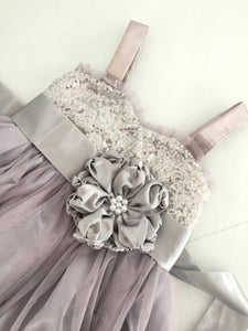 Sliver and gray flower girl dress, Champagne flower girl dress, Gold sequin flower girl dress, Rustic flower girl, flower girl dress ivory