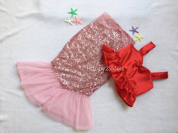 Mermaid outfit in red and pink Little mermaid girl costume Ariel costume Mermaid tail Girl mermaid tail