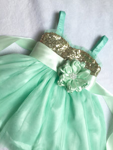 Mint green flower girl dresses