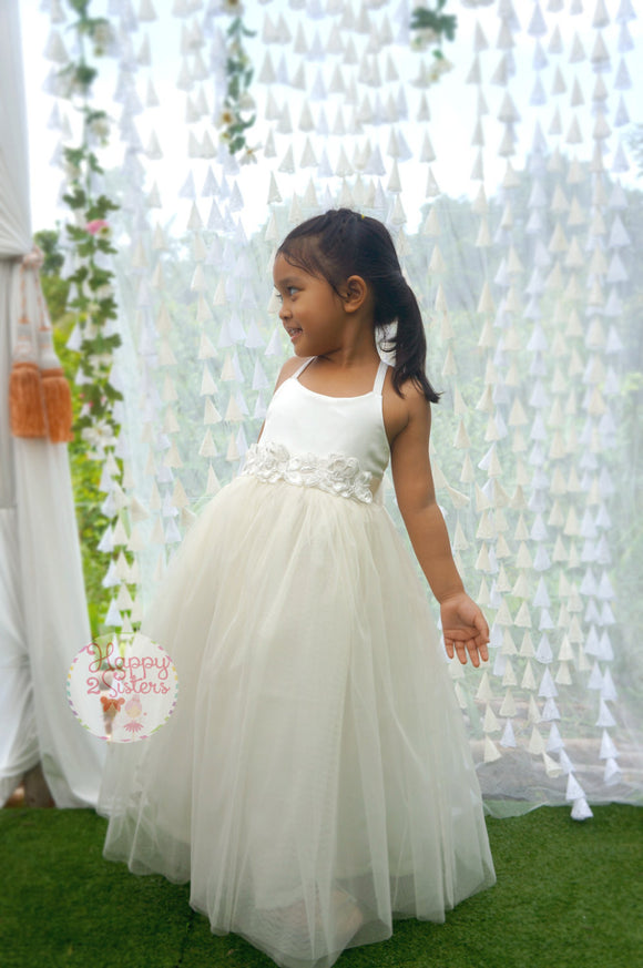 Ivory flower girl dress Girl gown Girl ivory dress