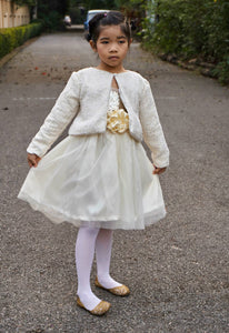 Ivory and gold girls sweater Girl jacket Flower girl sweater