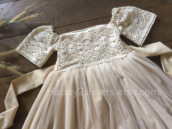Champange tulle flower girl dress Rustic flower girl dress Country flower girl dress Boho girl dress