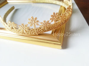 Tiara Crown Headband Lace crown Girls Headband Toddler headband Flower girl headband Flower girl gift