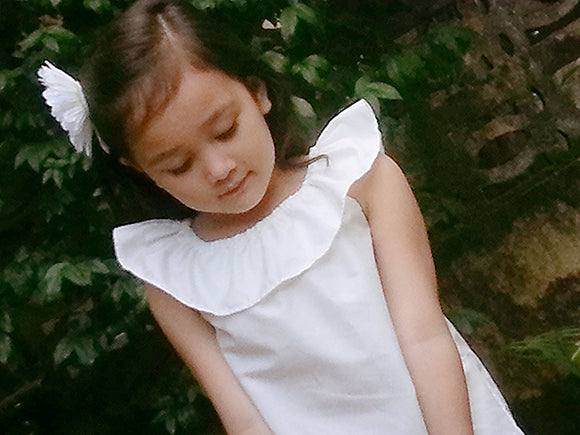 Cotton flower Girl dress Rustic flower girld ress Simple girl dress Cotton girl dress Country flower girl dress