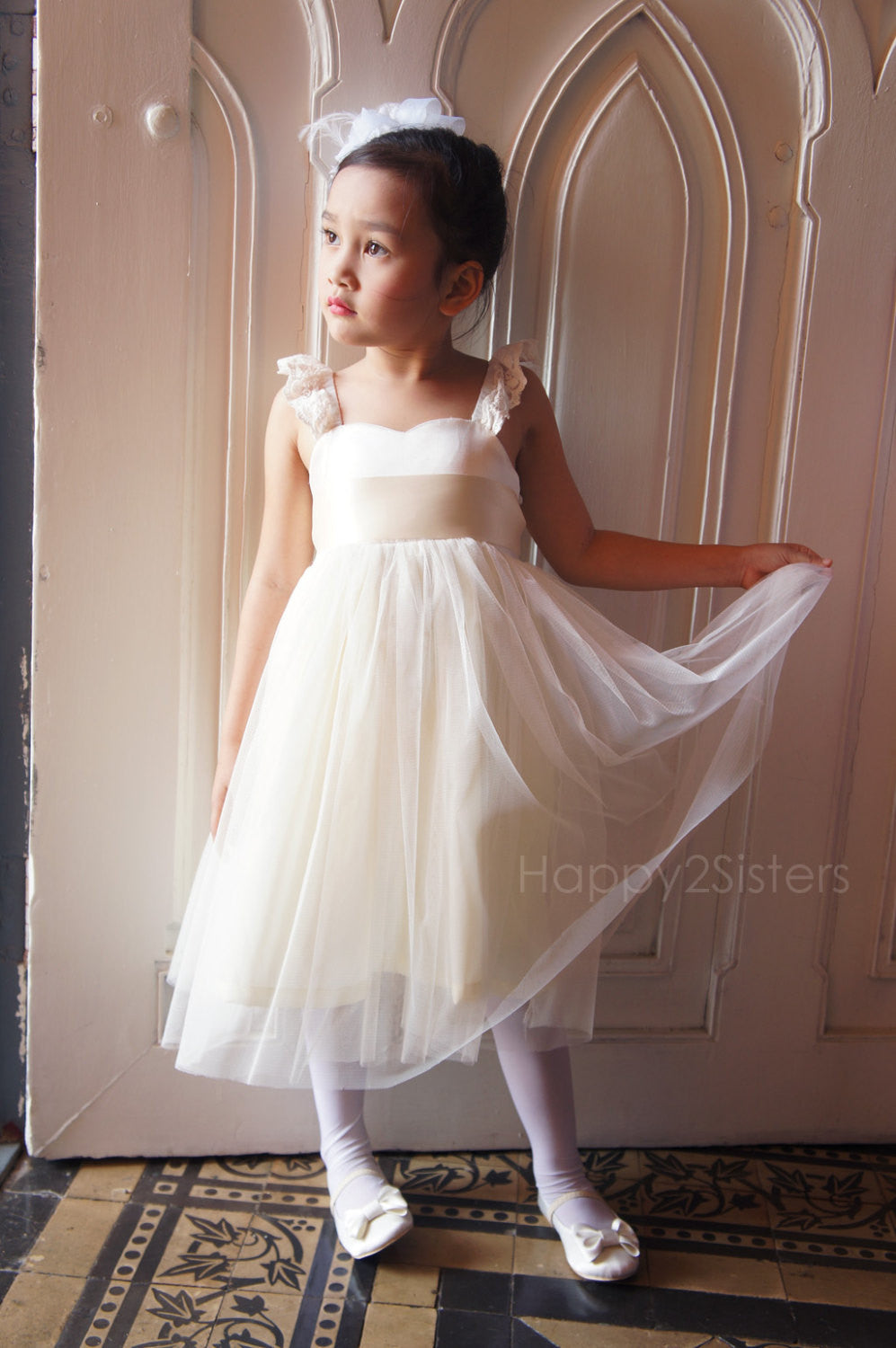 09976af9a Ivory Flower Girl dress Lace and tulle flower girl dress Country flower  girl dress Rustic wedding