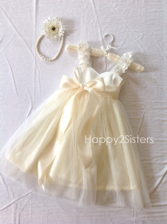 Ivory Flower Girl dress Lace and tulle flower girl dress Country flower girl dress Rustic wedding